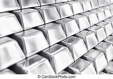 Silver ingots - Illustration of a many ingots of fine silver