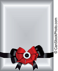 Silver Invitation Template with Red and Black Ribbon Bow
