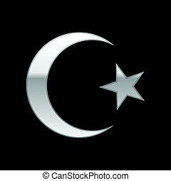 Silver Islam symbol icon on black background. Vector...