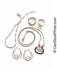 Silver jewelry on white background