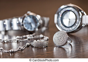 silver jewelry with cubic Zirconia and elegant women's watches