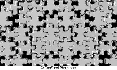 Silver jigsaw puzzle on black background