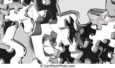 Silver jigsaw puzzle on white background. 3DCG render...