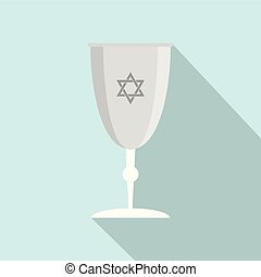 Silver judaism cup icon, flat style - Silver judaism cup...