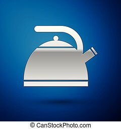 Silver Kettle with handle icon isolated on blue background. Teapot icon. Vector Illustration