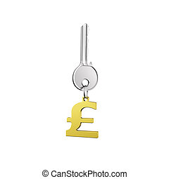 Silver key with golden pound symbol shape keyring