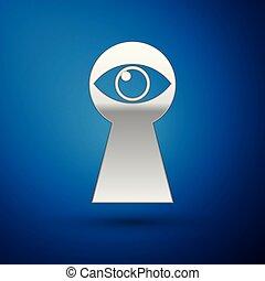 Silver Keyhole with eye icon isolated on blue background. The eye looks into the keyhole. Keyhole eye hole. Vector Illustration