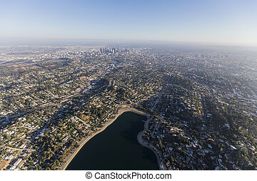 Silver Lake Aerial Los Angeles California