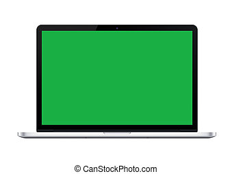 The isolated silver laptop computer mockup with green screen