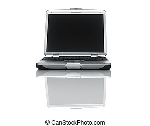 Laptop - Silver Laptop pc on white with reflection
