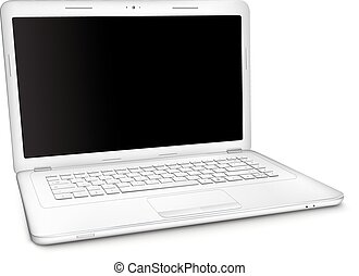 Silver laptop with black blank screen