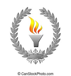 silver laurel wreath with flame