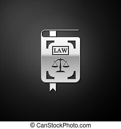 Silver Law book statute book with scales of justice icon isolated on black background. Long shadow style. Vector