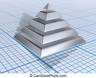 Silver Layered Pyramid - Illustration of a silver layered...