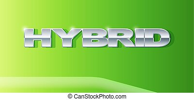Silver letters Hybrid on metallic glossy surface. Car and automobile industry. Vector Illustration.