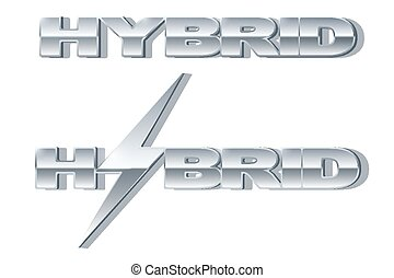 Silver letters Hybrid with lightning on metallic glossy surface.