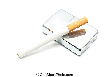 silver lighter and cigarette on white