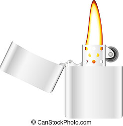 Silver lighter with flame on white background