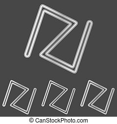 Silver line abstract logo design set