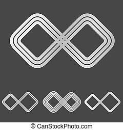 Silver line infinity logo design set