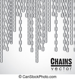 silver link chain dangling, vector illustration