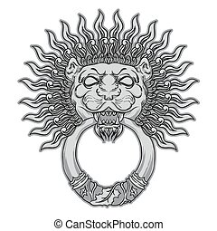 Silver lion head on black background. Door knocker. Hand drawn v