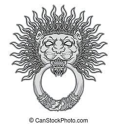 Silver lion head on black background. Door knocker. Hand drawn v