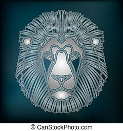 Silver lion portrait, zodiac Leo sign