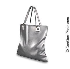 Silver luxury handbag isolated on white background