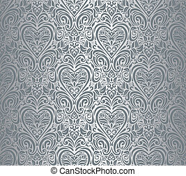 Silver luxury vintage damask design