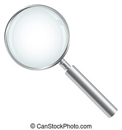 silver magnifying glass isolated