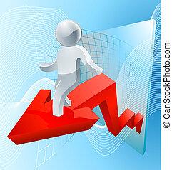 Silver man business chart arrow