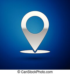 Silver Map pin icon isolated on blue background. Pointer symbol. Location sign. Navigation map, gps, direction, place, compass, contact, search concept. Vector Illustration
