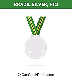 Silver medal. Brazil. Rio. Olympic games 2016. Vector illustration.Flat style.