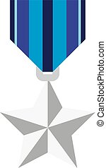 Silver medal in the shape of a star. Vector illustration