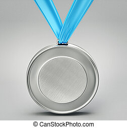 medal - silver medal isolated on a grey background