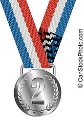 Silver Medal Isolated on White Background Vector