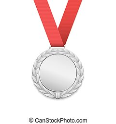 Silver medal isolated on white background.