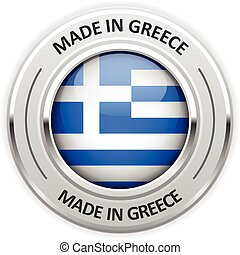 Silver medal Made in Greece with flag