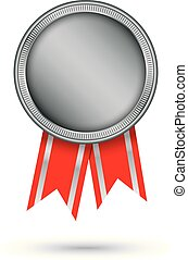 Silver medal with red ribbon, vector illustration