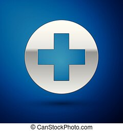 Silver Medical cross in circle icon isolated on blue background. First aid medical symbol. Vector Illustration
