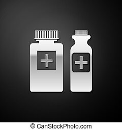 Silver Medicine bottle icon isolated on black background. Bottle pill sign. Pharmacy design. Long shadow style. Vector