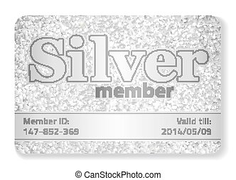 Silver member VIP card composed from glitters - Exlusive ...