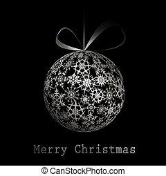 Silver Merry Christmas postcard. Vector eps10 illustration