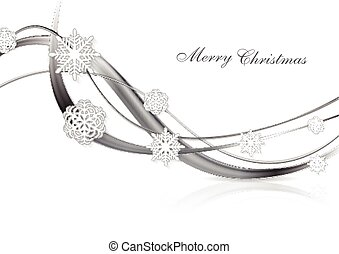 Silver metal abstract Christmas background with snowflakes and waves. Vector design eps 10