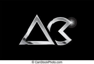 silver metal alphabet letter logo combination ac a c design