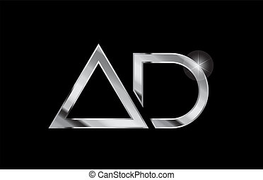 silver metal alphabet letter logo combination ad a d design