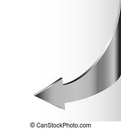 Silver metal arrow points backward
