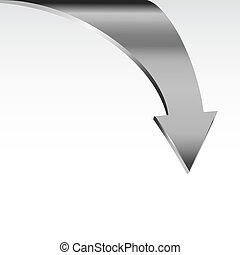 Silver metal arrow points down