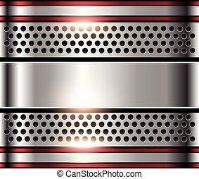 Silver metal background, shiny metallic chrome plate.